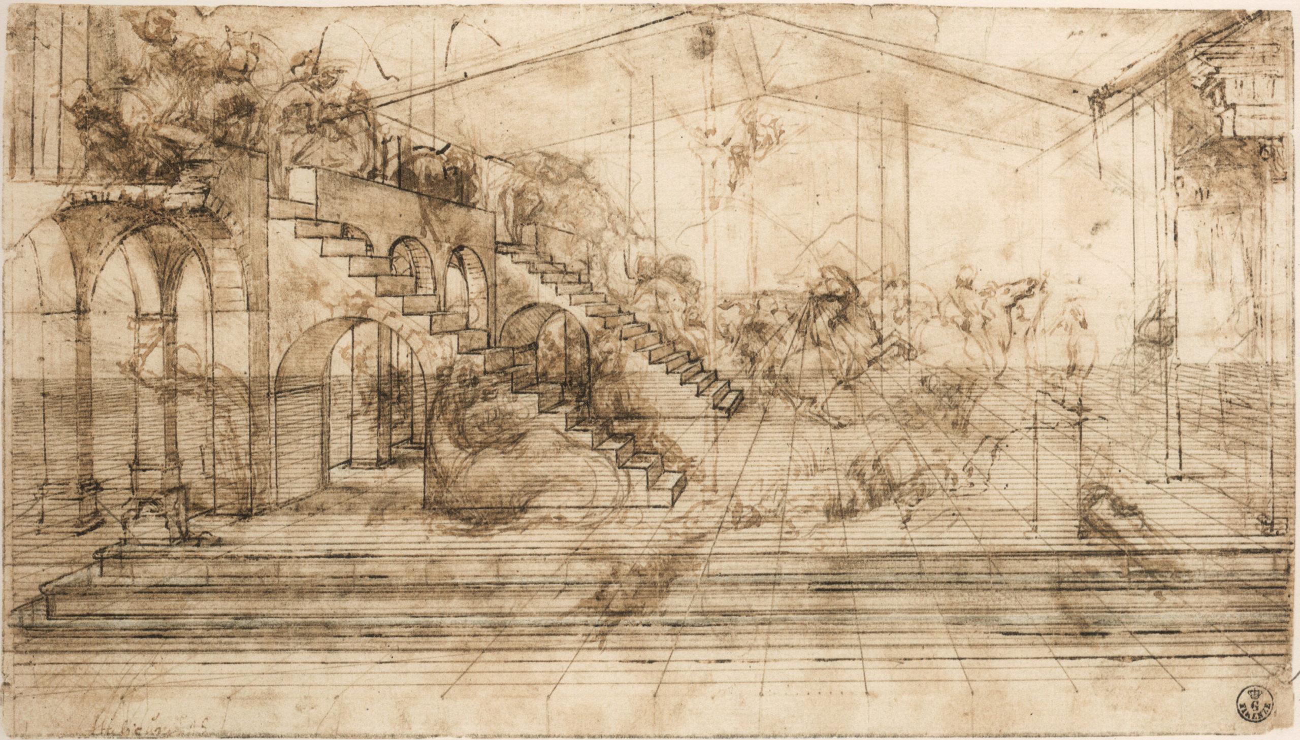 Adoracja trzech kroli, Leonardo Da Vinci, rysunek przygotowawczy