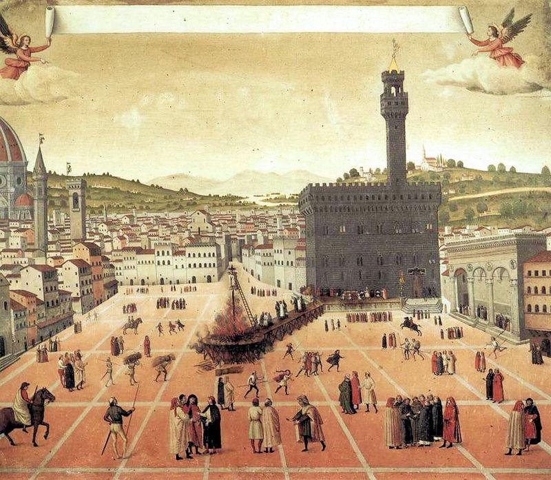 Smierc Savonaroli, Piazza della Signoria Florencja