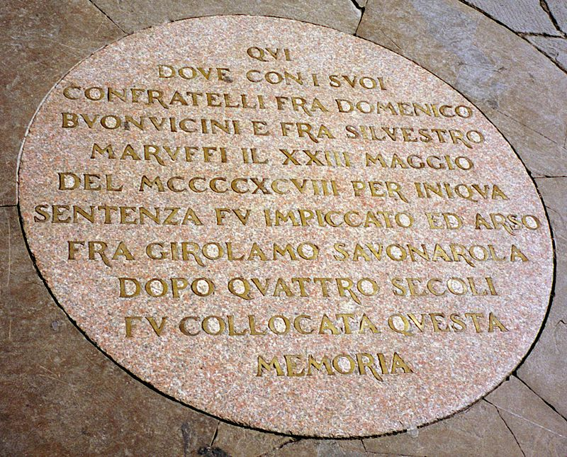 Tablica upamietniajaca smierc Girolamo Savonarola